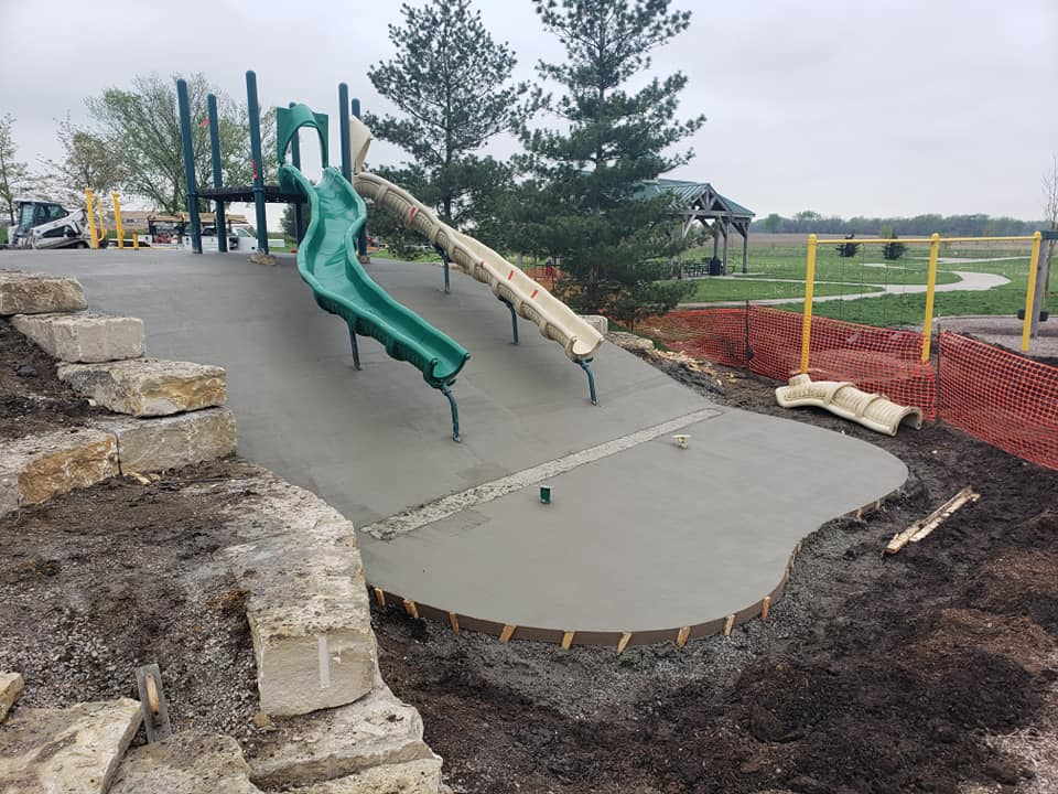 Aesthetic Concrete Designs has provided concrete services for playgrounds and other recreational areas.
